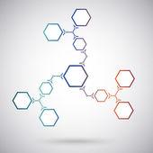 Communication concept of the ten hexagonal cells. gradient — Stock Vector