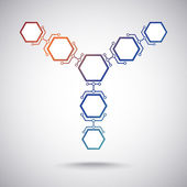 Communication of seven hexagonal cells — Cтоковый вектор