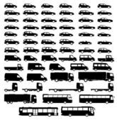 Set auto silhouet — Stockvector
