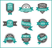 Turquoise label marketing (set of 3) — Vector de stock