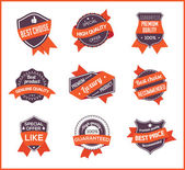 Orange label marketing (set 1) — Vector de stock