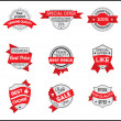 Grey and red marketing label (set 6) — Stock Vector