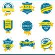 Blue and yellow marketing labels (set of 9) — Stock Vector #23327398