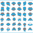 Blue stickers (set 3) - Stock Vector