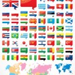 Flags and world map — Stock Vector