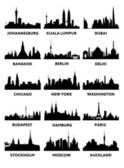 Vector silhouettes of the skylines — Stock Vector