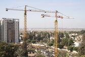 Construction site with tower cranes — Stock Photo