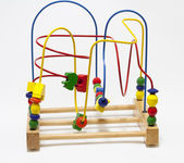 Big wooden bead maze — Stock Photo