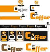 徽标和杯咖啡 — 图库矢量图片