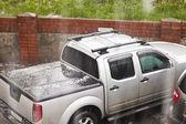 Hail with the rain — Stock Photo