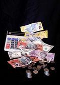Monnaies et billets de banque avec calculatrice — Photo