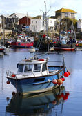 Colorful fishing boats at anchor in Mevagissey fishing village — Stock Photo