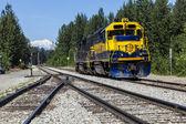 Diesel locomotive at Talkeetna in Alaska — Stock Photo