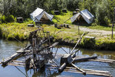 Water-current-powered fish trap on the Chena River — Foto de Stock