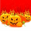 Stock Vector: Halloween pumpkin with fire