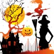 Halloween dark back, vector illustration - 图库矢量图片
