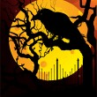 Raven on yellow moon - Stockvectorbeeld
