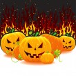 Halloween pumpkin with fire - Stock Vector