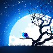 Royalty-Free Stock Vectorielle: Birds on moon light