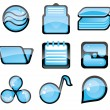 Set of blue icon — Stock Vector