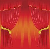 Ilustración vectorial de detrás de la cortina — Vector de stock