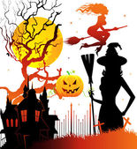 Halloween dark back, vector illustration — Stock Vector