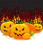 Halloween pumpkin with fire — Stock Vector
