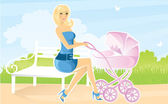 Women with pram — Stock Vector