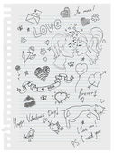Hand-drawn love doodles — Stock Vector