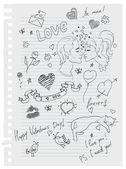 Hand-drawn love doodles — Stock Vector