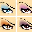 Set of eyes - Stock Vector