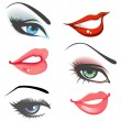 Lips & eyes set — Vector de stock
