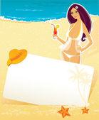 Vector illustration of Summer woman — Stock Vector