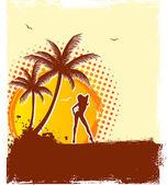 Illustration de vecteur d'été femme — Vecteur