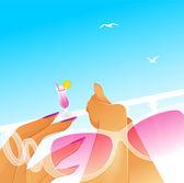 Ilustración vectorial de mujer de verano — Vector de stock
