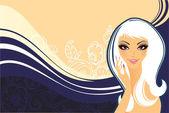 красота цветочная женщина — Cтоковый вектор