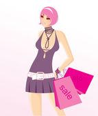 Shopping woman — Stock Vector