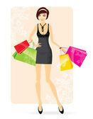 Kobieta, zakupy — Wektor stockowy