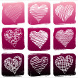 Vector illustration of set Hearts — Stock Vector