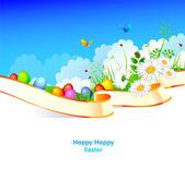 Easter eggs on grass — Stock Vector