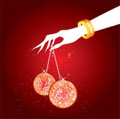 Women's hand with christmas balls — Stock Vector