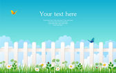 White fence with grass — Stock Vector