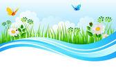 Vektor illustration av sommaren gräs — Stockvektor