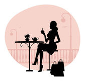 Silhouette of beautiful woman in cafe — Stock Vector