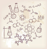 Hand draw chemistry on background — Stok Vektör