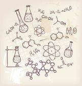 Mano disegnare chimica sullo sfondo — Vettoriale Stock