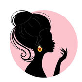 Beautiful silhouette woman — Stock Vector