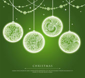 Christmas balls with doodle texture — Stock Vector