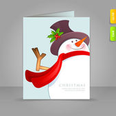 Gift card with funy snowman — Stock Vector