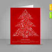 Gift card with Stylized xmas tree on red back — Stock Vector